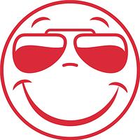 Виниловая наклейка - Смайл в очках (от 15х15 см)