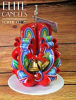 Резная свеча украшена колокольчиками, красиво подобраны новогодние цвета, классно подходит для подарков, фото 1