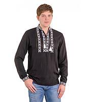 Рубашка вышитая крестиком и украшенная мережкой черная