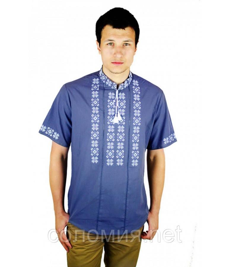 Рубашка с коротким руковом вышитая крестиком и украшенная мережкой серо-синяя