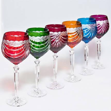Набор бокалов для вина (разноцветные, 330 мл/6шт.) Julia FV3033, фото 2