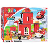 Конструктор Пожарная станция JDLT 5155, 63 детали, 3 фигурки, огонь, авто, вертолет, звук, свет