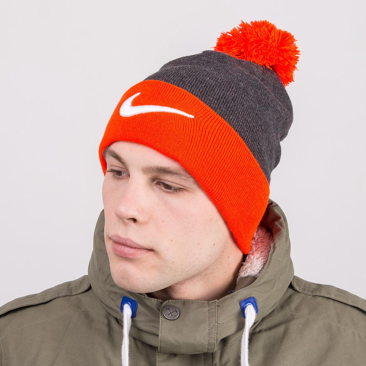 Мужская стильная шапка с помпоном - Nike (реплика) - Артикул 8800