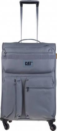 Удобный текстильный 4-х колесный чемодан 54 л. CAT CUBE COMBAT 83351;289 Серый