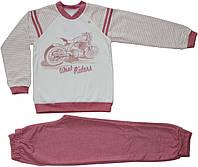 Пижама теплая, молочная кофта с мотоциклом и светло-вишневые брюки, для мальчика, рост 92 см, ТМ Ля-ля