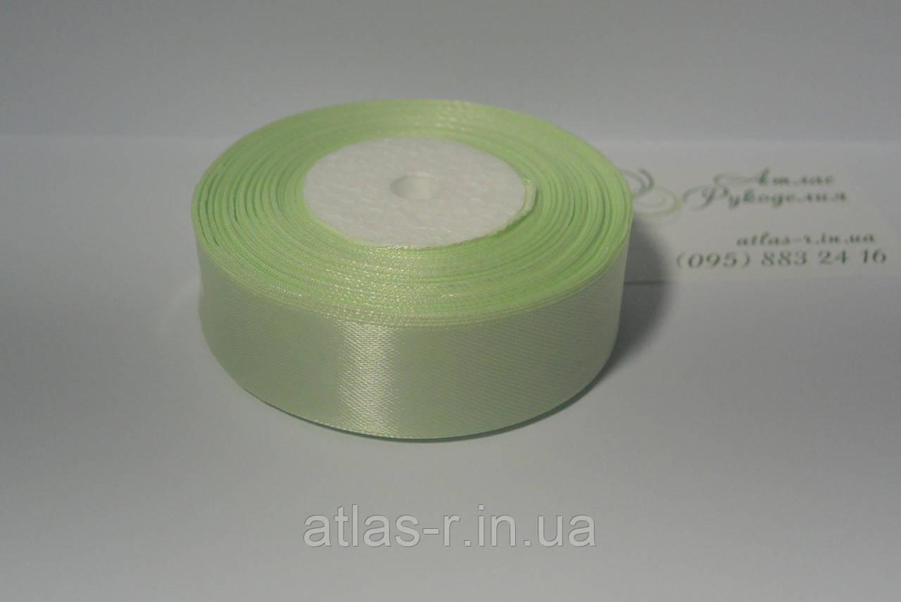 Салатовая атласная лента 25мм 1м