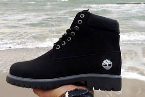 Женские зимние ботинки Timberland, черный нубук, внутри овчина