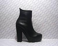 Ботильоны женские стильные натуральная кожа на высоком каблуке