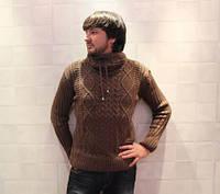Теплый свитер мужской бежевый под горло