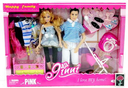 Кукла Jinni Семья 83229, беременная, Кен, ребенок