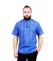 Рубашка с коротким руковом вышитая крестиком и украшенная мережкой синяя