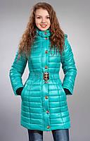 Молодежная курточка удлиненная с поясом цвет бирюза