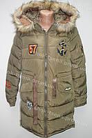 Женская зимняя удлиненная куртка на замке с капюшоном хаки