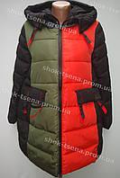 Женская двухцветная зимняя куртка на замке с капюшоном