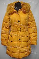 Женское пальто зимнее на замке с капюшоном желтое