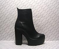 Ботильоны женские стильные натуральная кожа на толстом каблуке