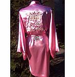 Жіночий атласний халат з іменною вишивкою, фото 4