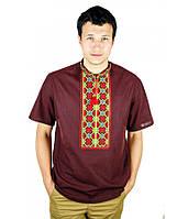 Рубашка с коротким рукавом вышитая крестиком «Пасхальная» темно-коричневая