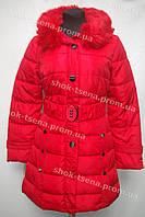 Женское пальто зимнее на замке с капюшоном красное