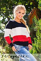 Женский вязанный свитер Три полоски черный