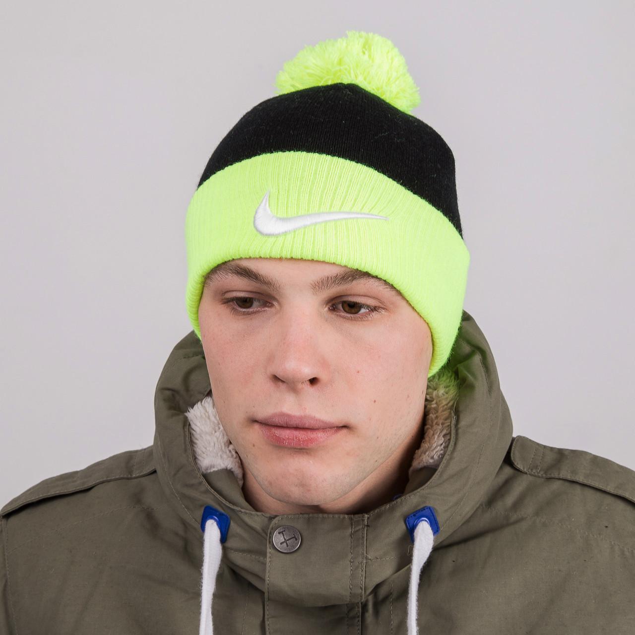 Мужская модная спортивная шапка с помпоном - Nike (реплика) - Артикул 8879