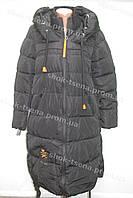 Женское зимнее пальто на замке с капюшоном черное