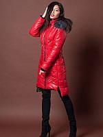 Ультрамодная женская куртка на зиму со съемным мехом красная
