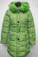 Женское пальто зимнее на замке с капюшоном зеленое
