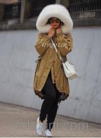 """Парка сафари с шикарной меховой опушкой """"Isabella"""" , пошив с 42-56 размеры"""