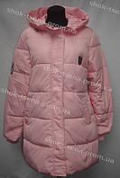 Удлиненная женская зимняя куртка на замке с капюшоном розовая