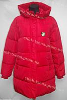 Удлиненная женская зимняя куртка на замке с капюшоном красная