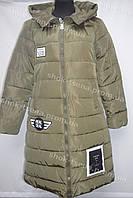 Женское пальто зимнее на замке с капюшоном хаки