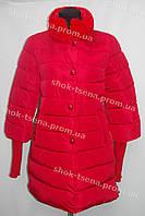 Женская куртка зимняя на замке красная