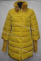 Женская куртка зимняя на замке желтая