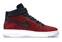 "Кроссовки Nike Air Force 1 High Ultra Flyknit ""University Red Black"" - ""Красные Черные"""