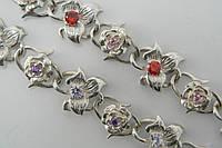 Шикарный серебряный браслет с цветными фианитами
