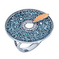 Серебряное кольцо с золотой пластиной с Swarovski