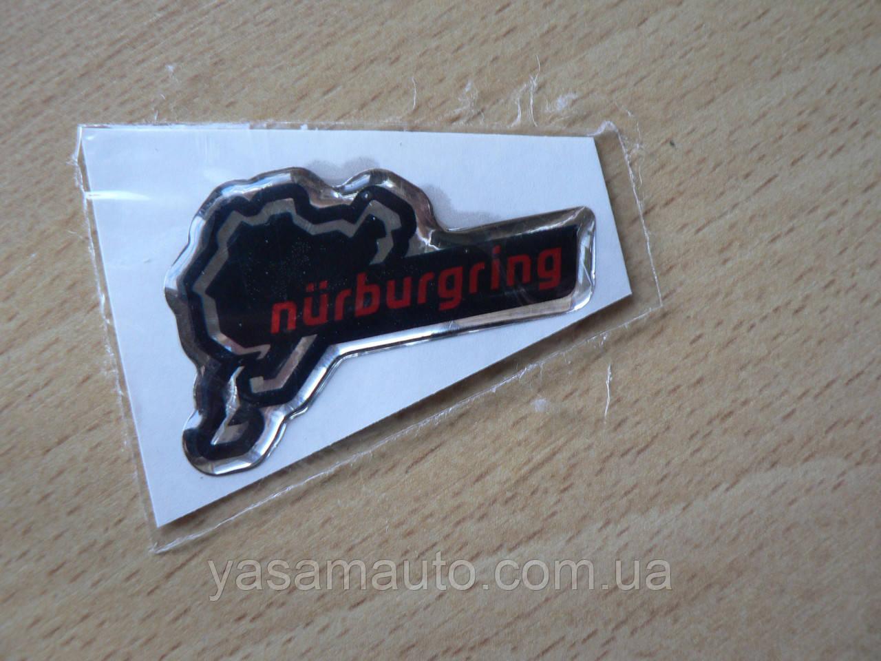 Наклейка s силиконовая надпись Nurburgring 50х32х1мм красная Нюрбургринг  гонки гоночная трасса