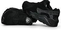 Зимние кроссовки NIKE AIR HUARACHE  замшевые,черные с мехом