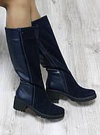 Зимние кожаные сапоги на удобном каблуке синие