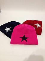 Женская шапка с вышивкой Звезда л-120722