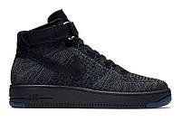 "Кроссовки Nike Air Force 1 High Ultra Flyknit ""Dark Grey Black"" - ""Серые Черные"" (Копия ААА+), фото 1"