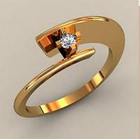 Модное современное женское золотое кольцо 585* пробы