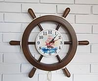 """Деревянные часы Штурвал """"Парусник"""" 55 см ручной работы. Подарок в морском стиле"""