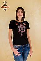 Жіноча вишита футболка Писанка червоно-сіра