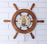 """Деревянные часы Штурвал """"Парусник"""" 45 см ручной работы. Подарок в морском стиле"""