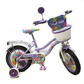 Велосипед двухколесный  Profi фиолетовый 14 дюймов на 3, 4, 5 лет для девочки