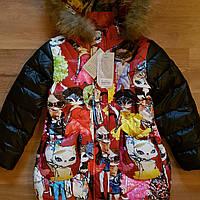 """Зимнее пальто для девочки """" Кошки"""".Пух.Размеры 120-160."""