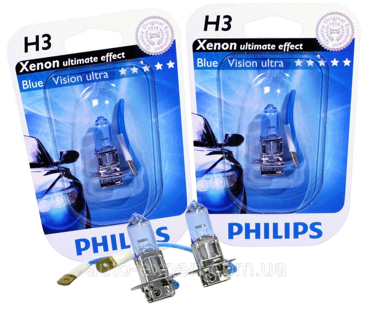 "Автомобильные галогенные лампы ""PHILIPS""(H3)(Blue Vision Ultra)(4000K)(12V)(55W)"