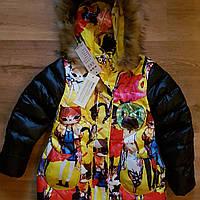 """Зимнее пальто для девочки """"Кошки"""".Пух.Размеры 4-8 лет"""